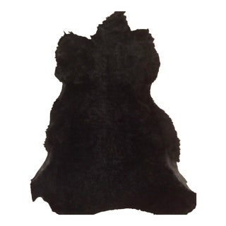 Vintage Authentic Black Fur Rug For Sale