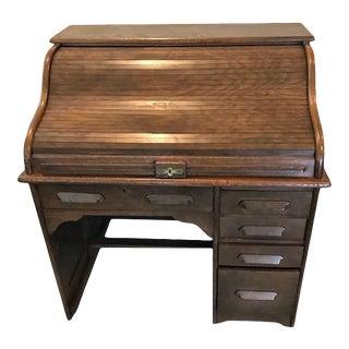 Antique Oak Single Bank Roll Top Desk For Sale