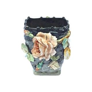 Antique French Barbotine Floral Basket Majolica Vase For Sale