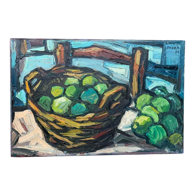 1960s Vintage Signed Oil on Canvas Still Life Painting For Sale