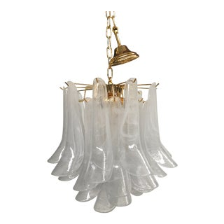 "Mazzega Style ""Petali"" Selle Murano Glass Chandelier For Sale"