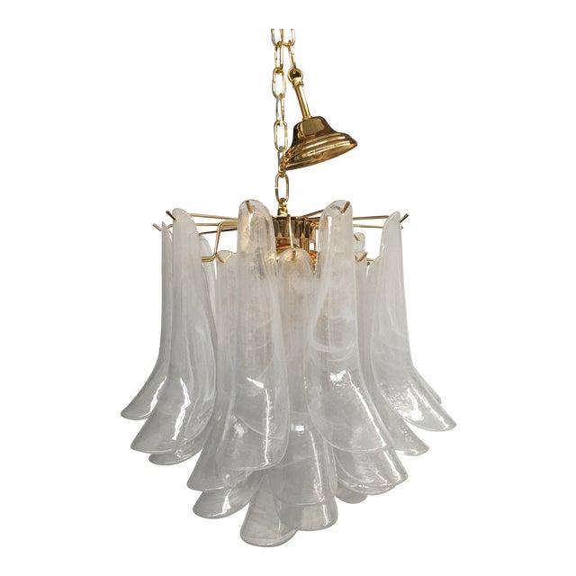"Mazzega Style ""Petali"" Selle Murano Glass Chandelier For Sale"