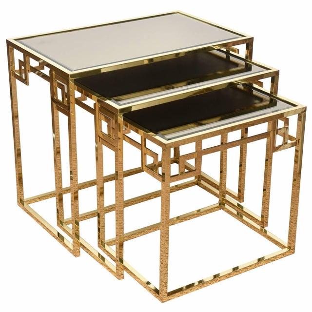 Italian Brass & Glass Greek Key Nesting Tables Final Markdown For Sale - Image 11 of 11