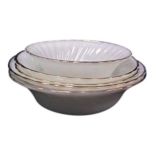White Fire King Bowls - Set of 5