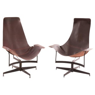 1960s William Katavolos for Leathercrafter Leather and Iron Sling Chairs - a Pair For Sale