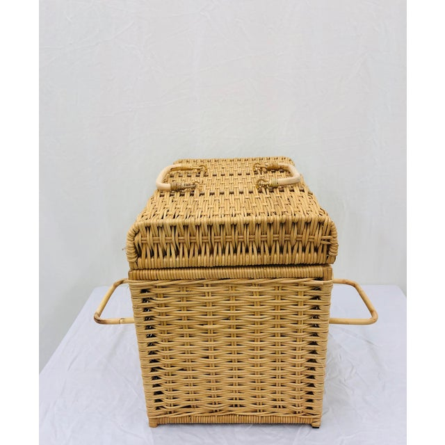 Woven Wicker Filing Box For Sale - Image 9 of 12