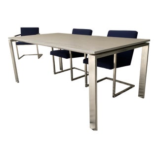 Modern Room & Board Rand Quartz and Stainless Steel Dining Table For Sale