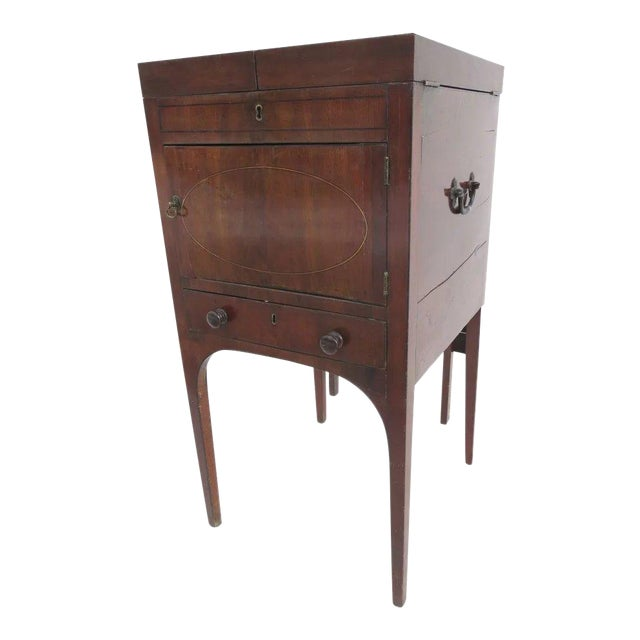 English Mahogany Enclosed Lift Top Dressing Stand For Sale