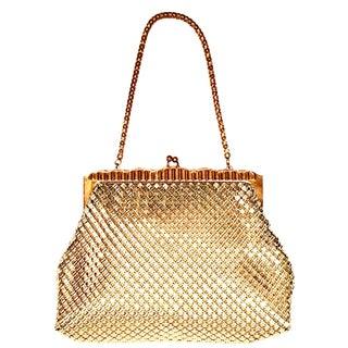 20th Century Whiting & Davis Gold Metal Mesh & Chain Link Handbag For Sale