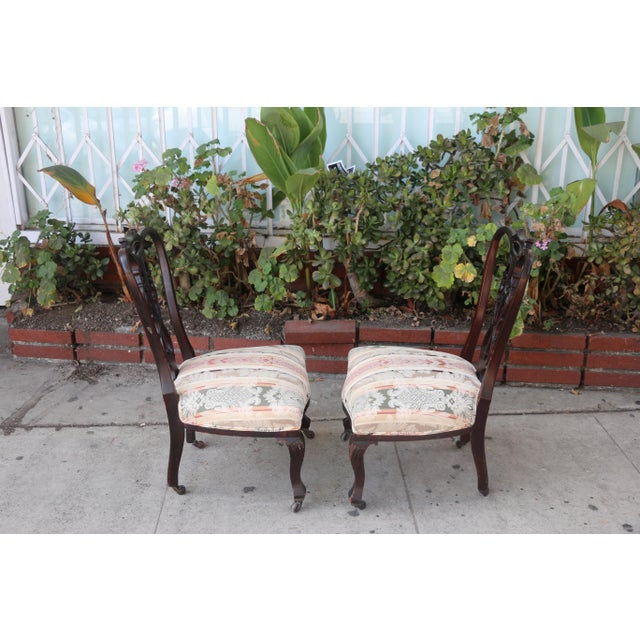 Chestnut Early 1900's Italian Low Chairs- A Pair For Sale - Image 8 of 9