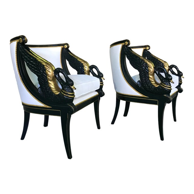Early 20th Century Gilt Mahogany Swan Chairs Attributed Charles Percier- a Pair For Sale