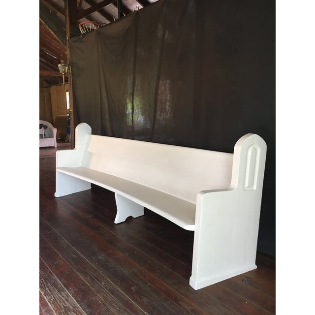 Vintage Wooden Church Pew For Sale - Image 4 of 9
