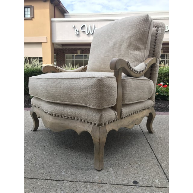 Metal 1990s Vintage Country French Bergere Chair and Ottoman Linen For Sale - Image 7 of 11