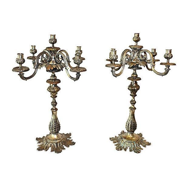 Antique French Bronze Candelabra - A Pair For Sale