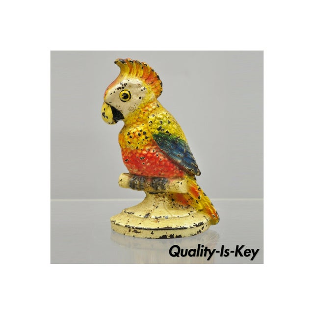 "Antique Art Novueau Cast Iron Hand Painted 8"" Cockatoo Parrot Figurine Doorstop For Sale - Image 11 of 11"