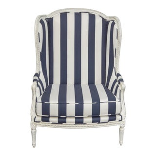 Nautical Wide Navy and White Stripe Wingback Chair For Sale