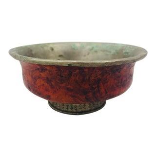 Vintage Burl Wood & Silver Bowl For Sale