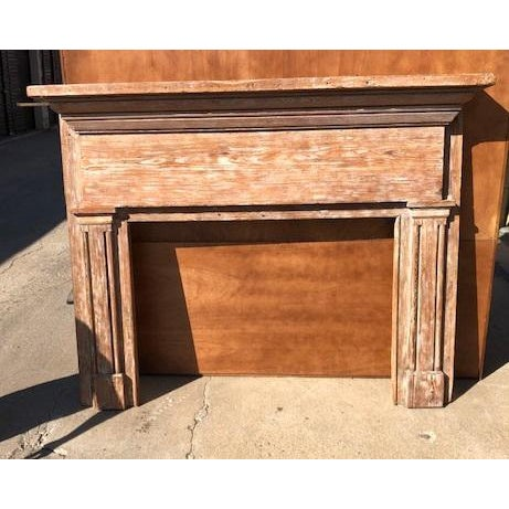 Antique Oak Mantle With White Distressed Stain For Sale - Image 4 of 6