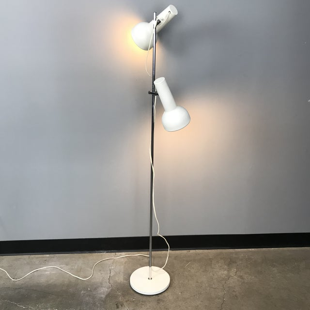White metal and chrome Danish floor lamp with adjustable lampshades by Schmidt's. The shades can be moved up or down the...