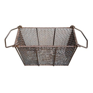 20th Century Rustic Woven Wire Basket Preview