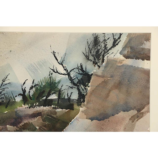 Mid 20th Century Original Vintage Mid 20th C. Modern Watercolor-Carl Zimmerman-Coastal View For Sale - Image 5 of 9