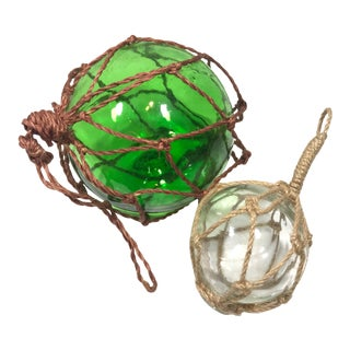 Japanese Blown Glass Fishing Buoy Floats - a Pair For Sale