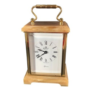 Mid Century Modern Brass and Stone Desk Clock Gold Mantle Office Clock For Sale