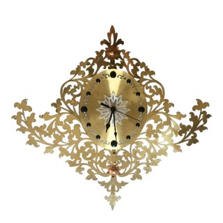 1960s Vintage Maximalist Gold Filigree Clock For Sale
