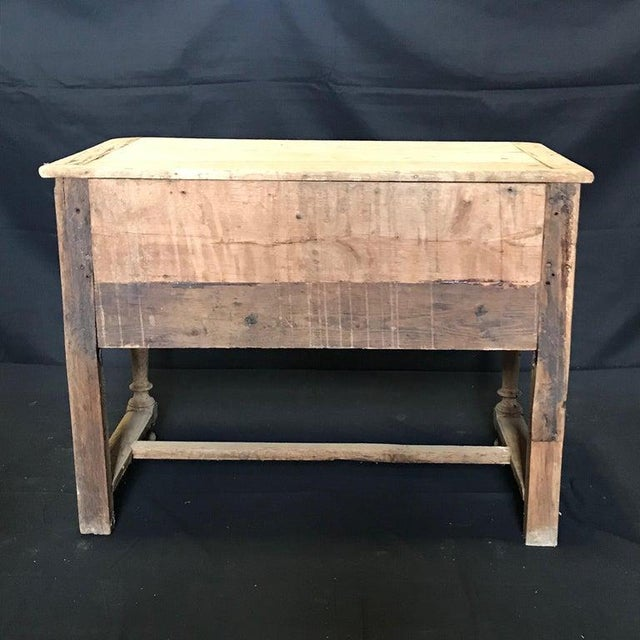 White French Rustic Naturally Distressed Two Drawer Console Table Commode For Sale - Image 8 of 12