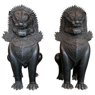 Antique Bronze Standing Foo Dogs Khmer Style-A Pair For Sale