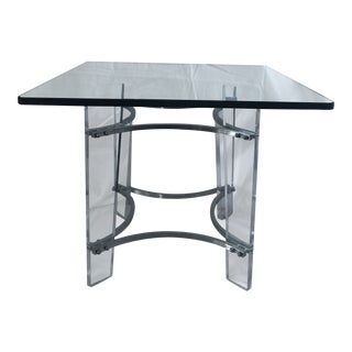 Charles Hollis Jones Lucite, Glass, & Chrome Side Table For Sale