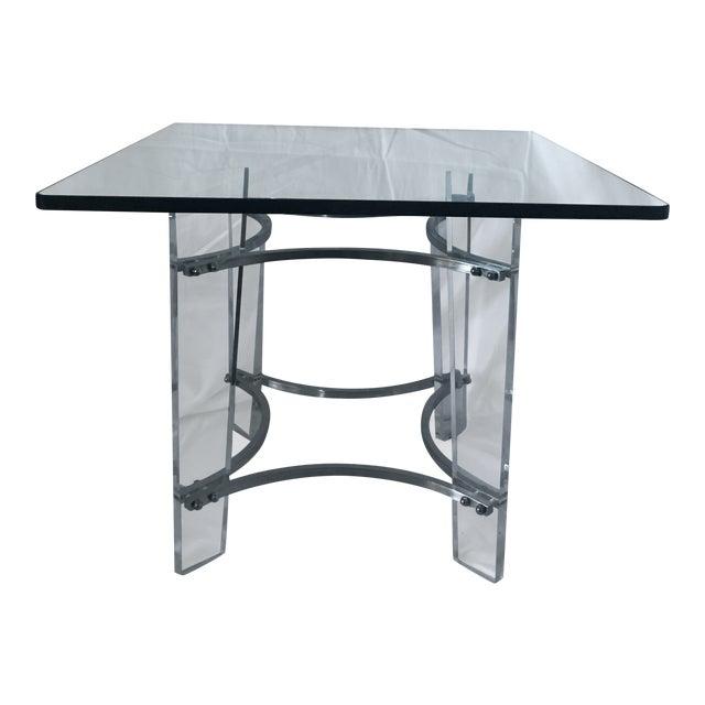 Charles Hollis Jones Lucite, Glass, & Chrome Side Table For Sale
