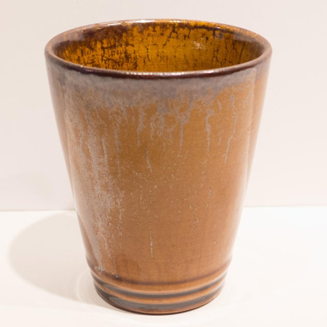 Tan Pitcher with Eight Cups by Atelier du Grand Chene For Sale - Image 8 of 10