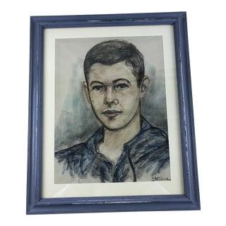 Vintage Boy Pastel Portrait Framed Drawing Signed Stevens For Sale