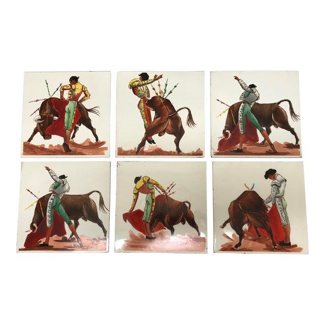 Mid 20th Century Torero & Bull Ceramic Tiles - Set of 6 For Sale