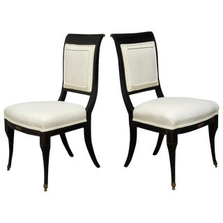 English Regency Black Lacquer Chairs by Baker - A Pair