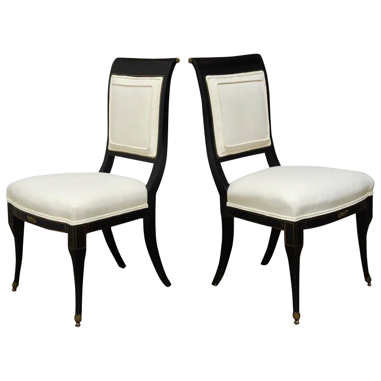 English Regency Black Lacquer Chairs By Baker   A Pair For Sale