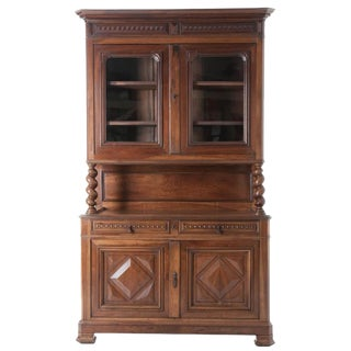 French 19th Century Walnut Buffet a Deux Corps For Sale