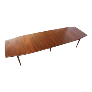 Large Three-Leaf Walnut Dining Table by Paul McCobb for Directional For Sale