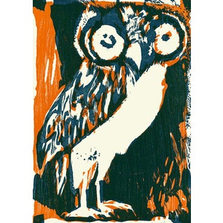 """1965 """"Le Hibou (The Owl)"""" Limited Edition Hand-Signed Woodblock by Bernard Lorjou For Sale"""