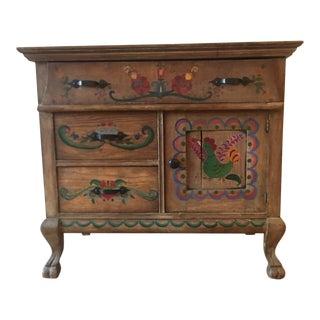 Early 1900's Dutch Folk Art Painted Oak Chest For Sale