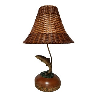 Fish Lamp With Wicker Shade and Wooden Base For Sale
