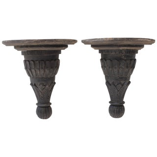 Pair of Carved Wood Brackets For Sale