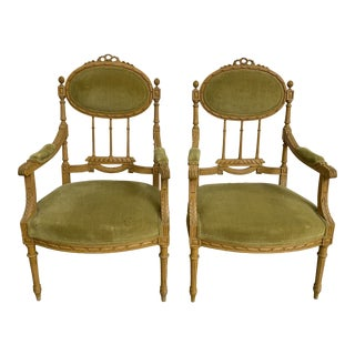 Vintage French Chartreuse Velvet Upholstery Accent Chairs - a Pair For Sale