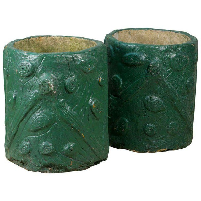 Pair French Green Cement Faux Bois Planters, circa 1940 - Image 4 of 4
