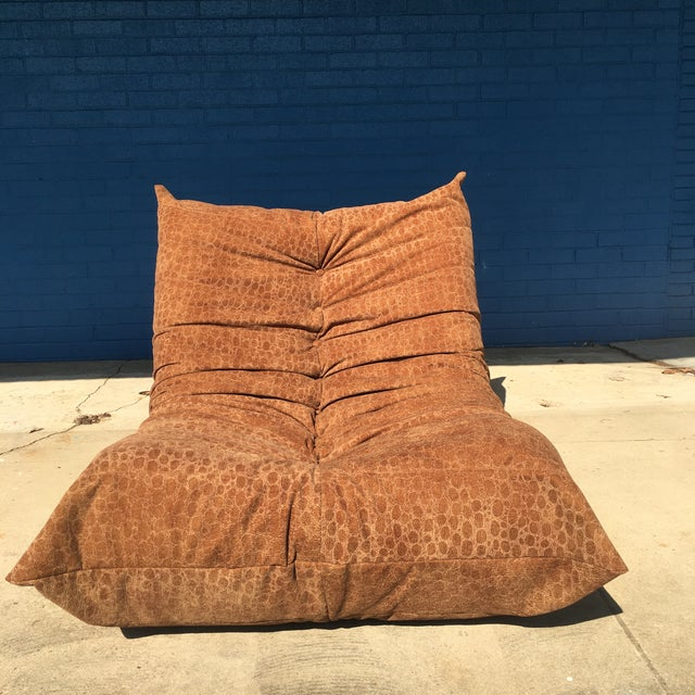 Brown Vintage Togo Fireside Chair With Custom Faux Alligator Suede For Sale - Image 8 of 13