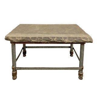 Industrial Stone Top Side Table For Sale