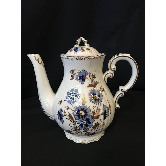 1990s Vintage Zsolnay Hand Painted Porcelain Coffee Set of 15 For Sale - Image 5 of 7