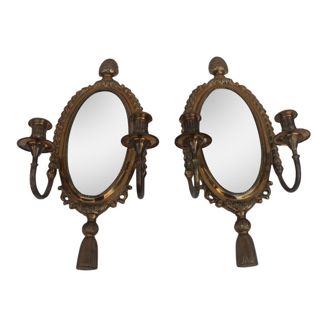Italian Brass Mirrored Candle Sconces - A Pair - Image 1 of 8