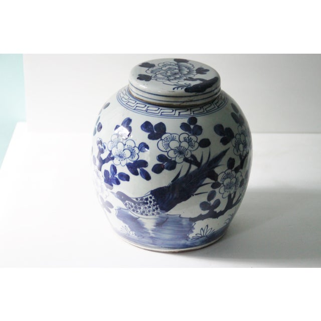 Blue & White Porcelain Chinoiserie Bird Jar - Image 3 of 5